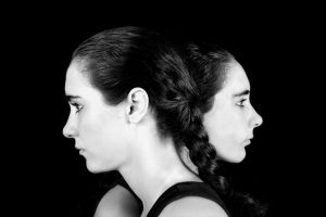 Twins series, black and white artistic portraits of twins girls